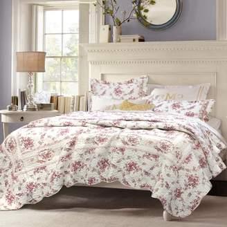 August Grove Giroflee Shabby Elegance Vintage Rose Quilt Set