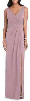 After Six Pleated Surplice Stretch Crepe Gown