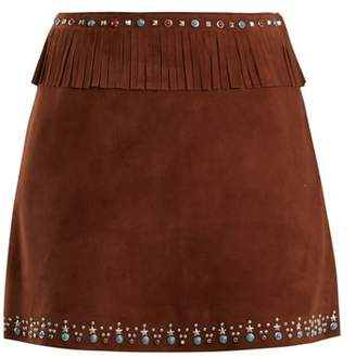 Miu Miu Stud Embellished Fringed Suede Mini Skirt - Womens - Brown