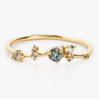 Wwake Sapphire & Diamond Organic Triangle Ring Gold