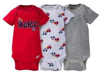 Gerber Newborn Baby Boy Assorted Short Sleeve Onesies Bodysuits, 3-Pack