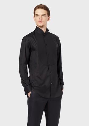 Giorgio Armani Voile Tuxedo Shirt With Pique Bib