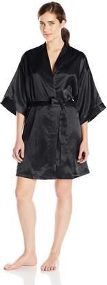 Cinema Etoile Women's Satin Kimono Wrap Robe