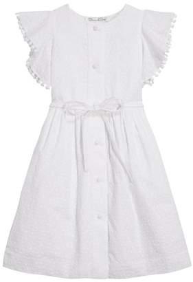 Oscar de la Renta Kids Ruffled Flower Bud-Embroidered Cotton Dress