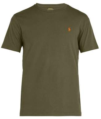 Polo Ralph Lauren Logo Embroidered Cotton Jersey T Shirt - Mens - Khaki