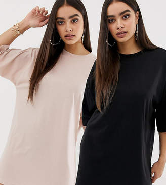 Missguided exclusive 2 pack basic oversized t-shirt dresses in black and nude