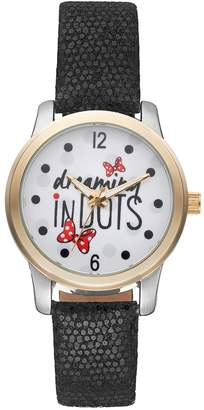 "Disney Disney's Minnie Mouse ""Dreaming in Dots"" Women's Leather Watch"