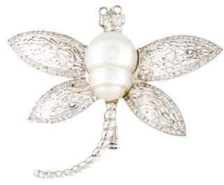 18K Pearl & Diamond Dragonfly Brooch Pin