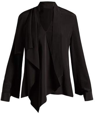 Fendi V Neck Draped Silk Blouse - Womens - Black
