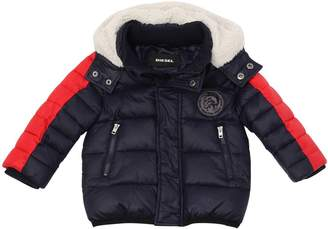 Diesel Hooded Color Block Nylon Puffer Jacket