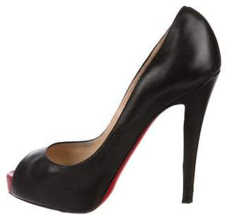 Christian Louboutin Leather Peep-Toe Pumps