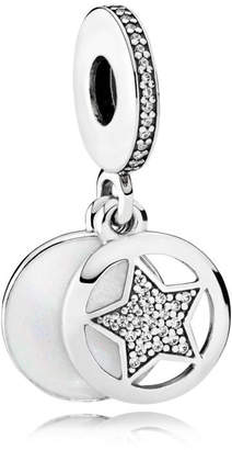 Pandora Friendship Star Pendant Charm - Enamel / Sterling Silver / White
