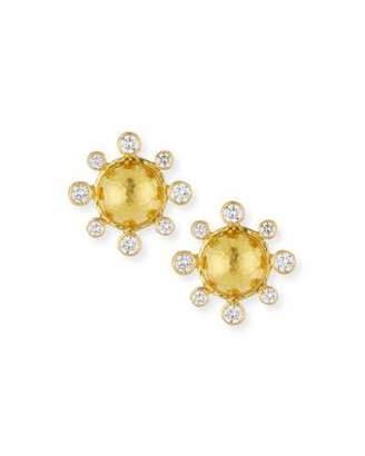 Elizabeth Locke Diamond-Detailed 19k Gold Dome Earrings