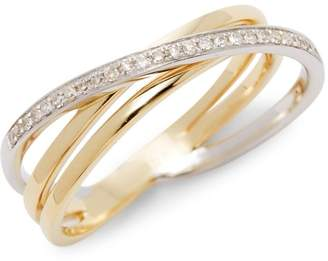 KC Designs 14K White Gold, Yellow Gold & Diamond Crossover Band Ring