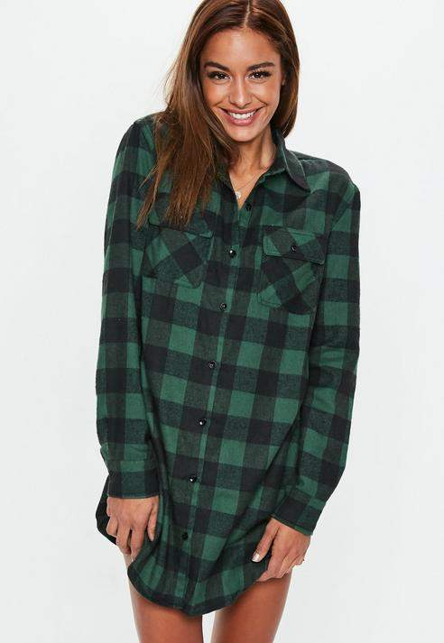 Missguided Checked Long Sleeve Shirt Dress
