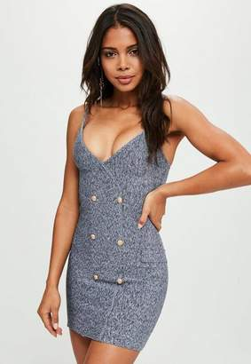 Missguided Blue Strappy Bandage Denim Look Dress