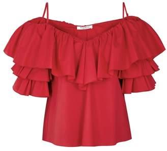 Vivetta VIVETTA Red Ruffled Stretch-poplin Top