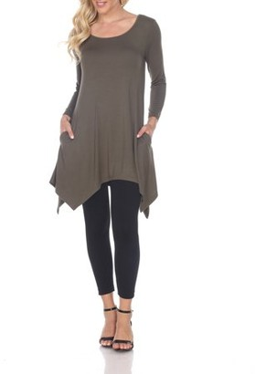 White Mark Women's Solid Color Tunic Top