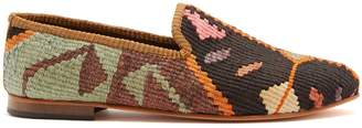 ARTEMIS DESIGN SHOES Patterned woven Kilim and leather loafers