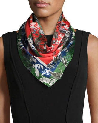 Freya St. Piece Floral Silk Twill Square Scarf, Green/Red