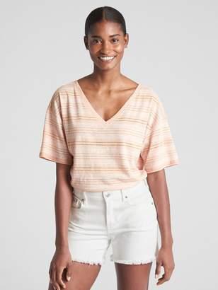 Gap Short Sleeve Stripe V-Neck T-Shirt