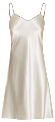 Helmut Lang Decorative Zip Silk Satin Slip Dress - Womens - Ivory
