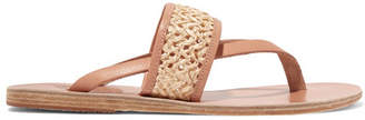 Ancient Greek Sandals Zenobia Woven Raffia And Leather Sandals - Neutral