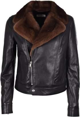 Saint Laurent Fur Collar Biker Jacket