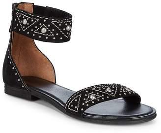 Frye Women's Carson Deco Zip Leather Ankle-Strap Sandals