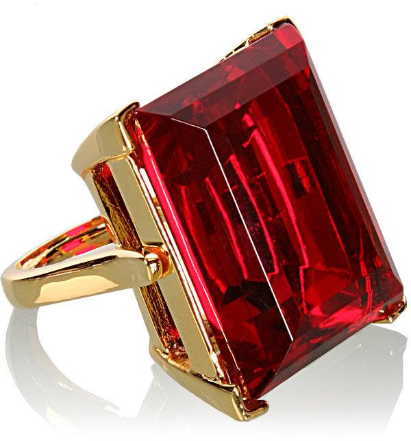 Kenneth Jay Lane Red Rectangular Cut Ring