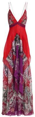 Roberto Cavalli Paneled Metallic Printed Silk-Blend Crepe Maxi Dress