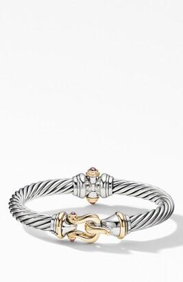 David Yurman Cable Buckle Bracelet with 18k Yellow Gold & Rhodalite Garnet