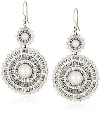 Miguel Ases Fresh Water Pearl and Sterling Silver Centric Earrings