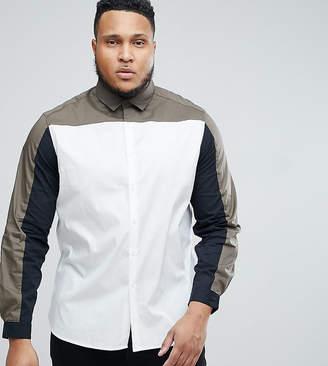 Asos Design DESIGN Plus stretch slim cut and sew shirt with khaki panel