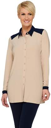 Linea By Louis Dell'olio by Louis Dell'Olio Moss Crepe Button Front Shirt