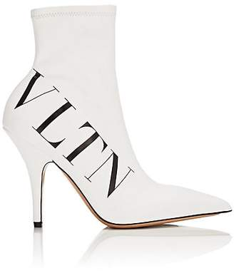 Valentino Women's Stretch-Leather Ankle Boots - White