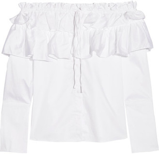 Opening Ceremony - Mercer Ruffled Off-the-shoulder Stretch Cotton-poplin Top - White $325 thestylecure.com