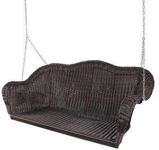 """Northlight 28"""" x 50"""" Hand Woven Wicker Outdoor Porch Swing - Chocolate Brown"""
