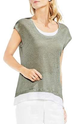 Vince Camuto Linen Layered-Look Tee