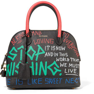 Balenciaga Ville Graffiti Small Printed Textured-leather Tote - Black