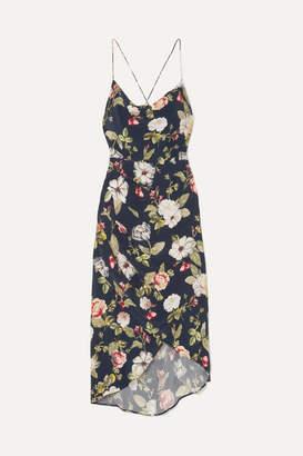 Alice + Olivia Alice Olivia - Reena Wrap-effect Floral-print Matte-satin Dress - Navy