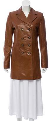 Hermes Double-Breasted Leather Coat