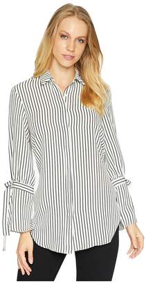 Bishop + Young Stripe Tie Sleeve Blouse Women's Long Sleeve Pullover