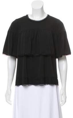 Anna Sui Lace-Trim Short Sleeve Blouse Black Lace-Trim Short Sleeve Blouse