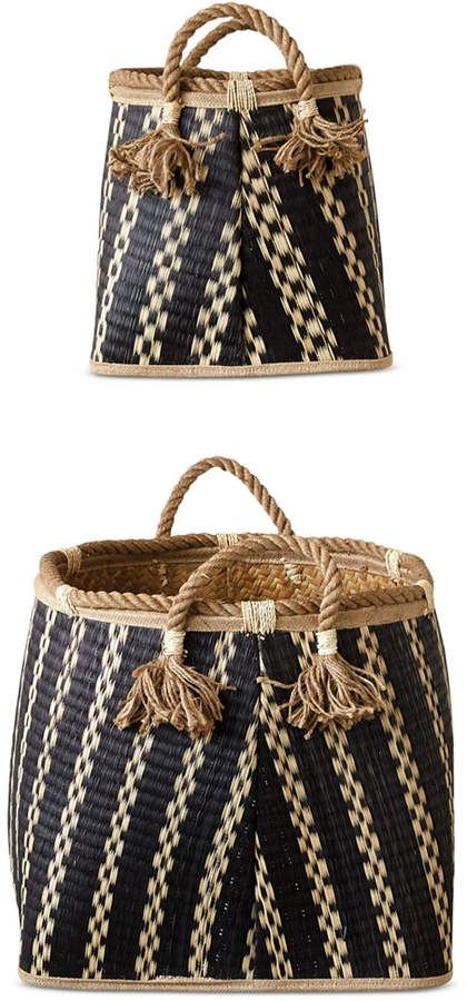 3r Studio Wicker Baskets with Rope Handles, Set of 2