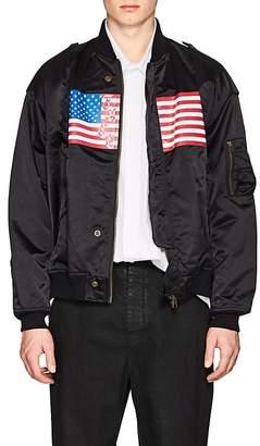 "Facetasm Men's ""Face"" Flag-Print MA-1 Bomber Jacket"