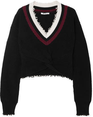 Alexander Wang Cropped Frayed Cotton-blend Sweater - Black