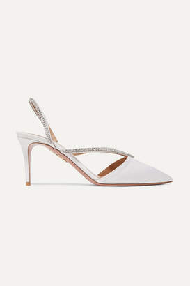 Aquazzura Eden 75 Crystal-embellished Faille Slingback Pumps - White