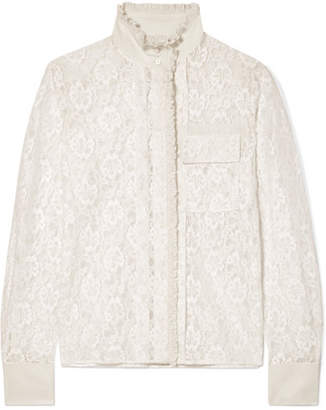 Chloé Ruffled Silk-trimmed Cotton-blend Lace Blouse - Cream
