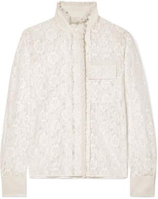 Chloé Ruffled Silk-trimmed Cotton-blend Lace Blouse - Cream